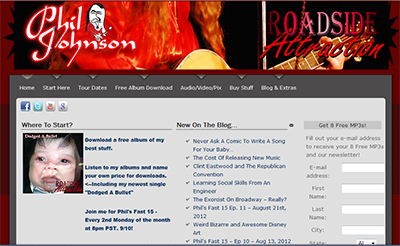 Phil Johnson and Roadside Attraction Website Screen Shot