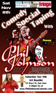 Phil Johnson Comedy Special Filming flyer